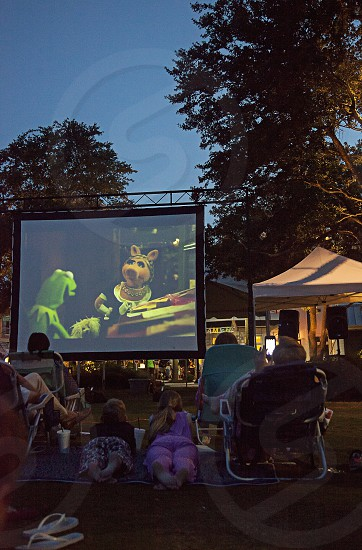 Movie in the park at night photo