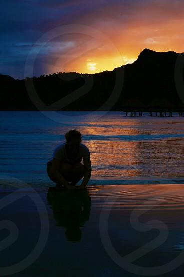 Reflecting on sunset photo