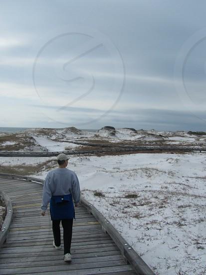 Boardwalk path beach ocean winter walking sand dunes photo