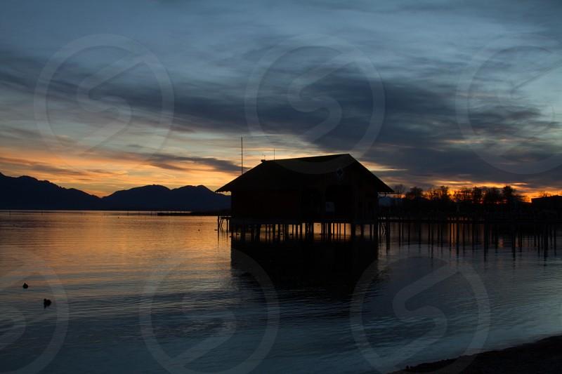 Sunset at Seebruch Bavaria Germany photo