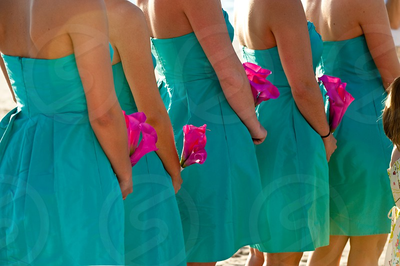 Bridesmaids in turquoise dresses holding hot pink flowers at a wedding photo