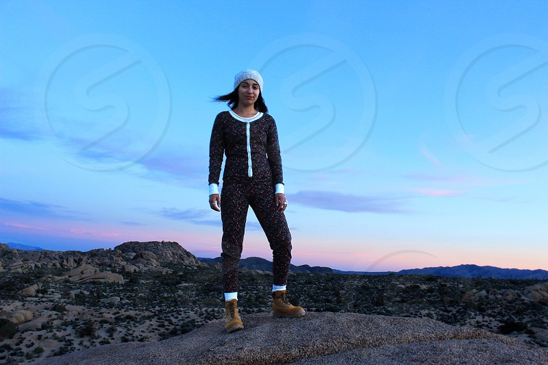 Desert west Joshua tree national park summer sunset cactus nature color California landscape beautiful outdoors outside girl girlfriend woman pajamas hike camping photo