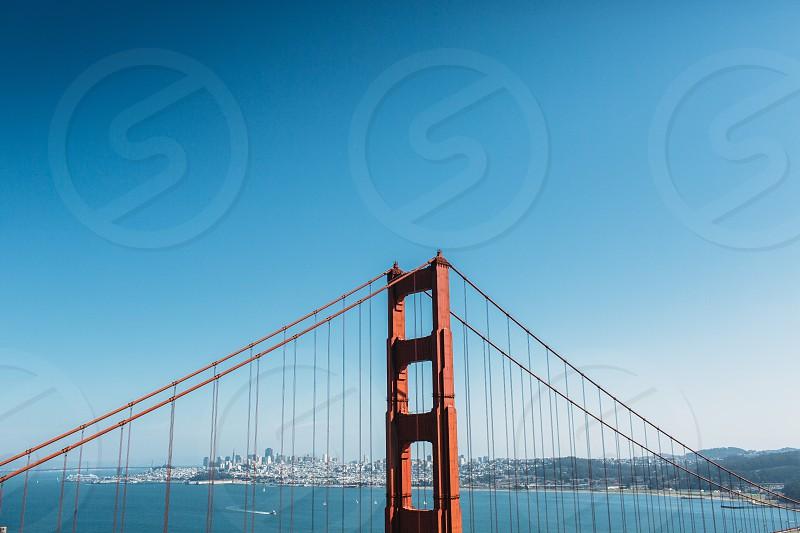 Golden Gate Bridge GGB San Fransisco California bay ocean bridge blue orange city coast lines photo