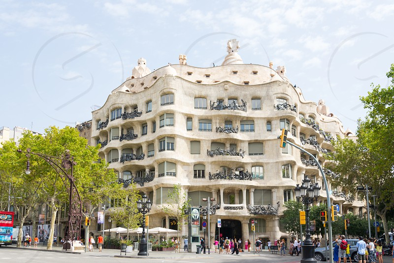 Casa Mila renown building was designed by Antoni Gaudi is located in Barcelona Spain photo