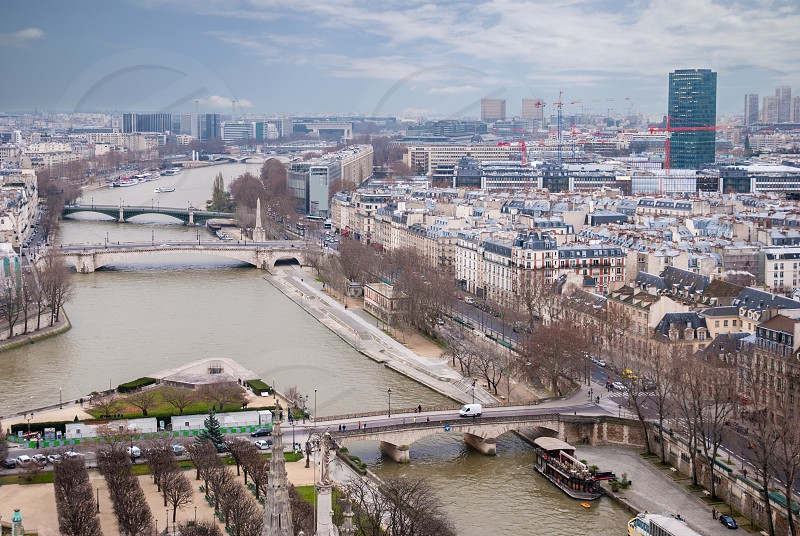 aerial view of Paris panoramic scene of Seine river photo