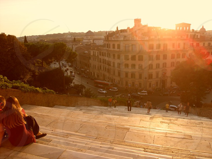 Sunset from Spanish Steps in Rome photo