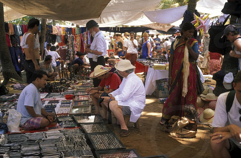 the Market in the Village of Anjuan in the province of Goa in India. photo