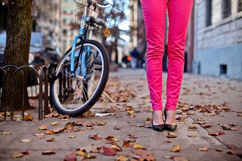 Fall bicycle manhattan woman shoes hi-heels photo