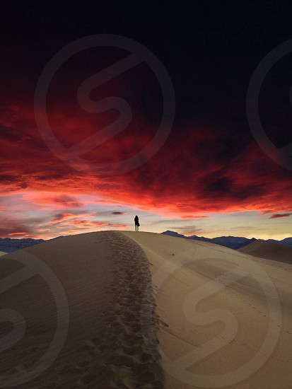 person walking on sand dune photo