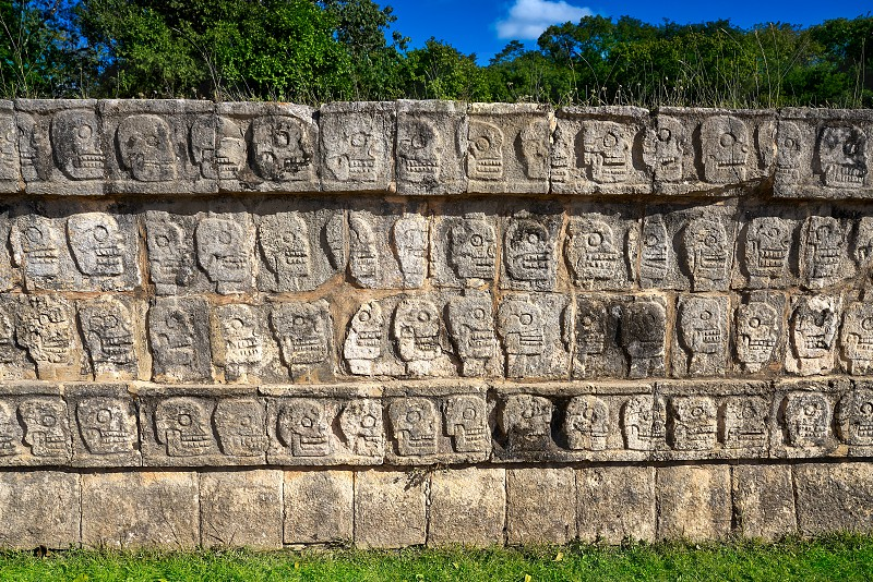Chichen Itza Tzompantli the Wall of Skulls in Mexico Yucatan photo