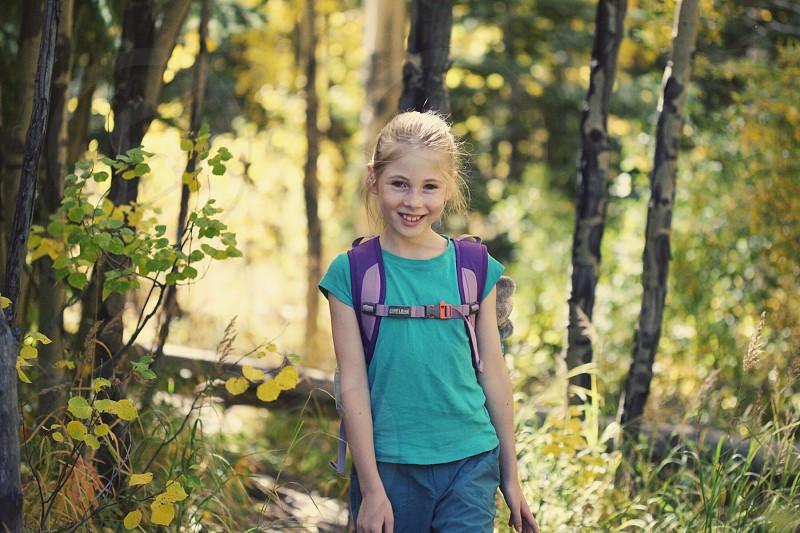 Little girl hiking  photo