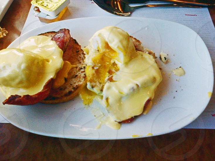 Eggs Benedict served as a brunch on board a northbound train heading to Scotland. photo