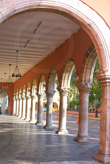 Merida city arcade arcs of Yucatan in Mexico photo
