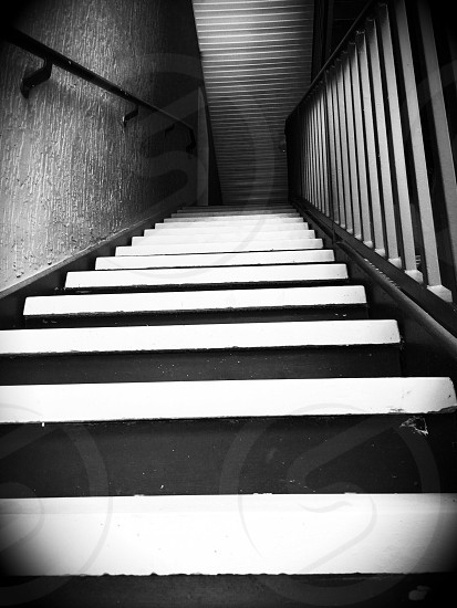 black and white staircase photo