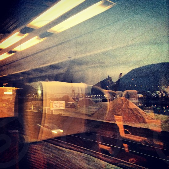 Window in train reflection photo