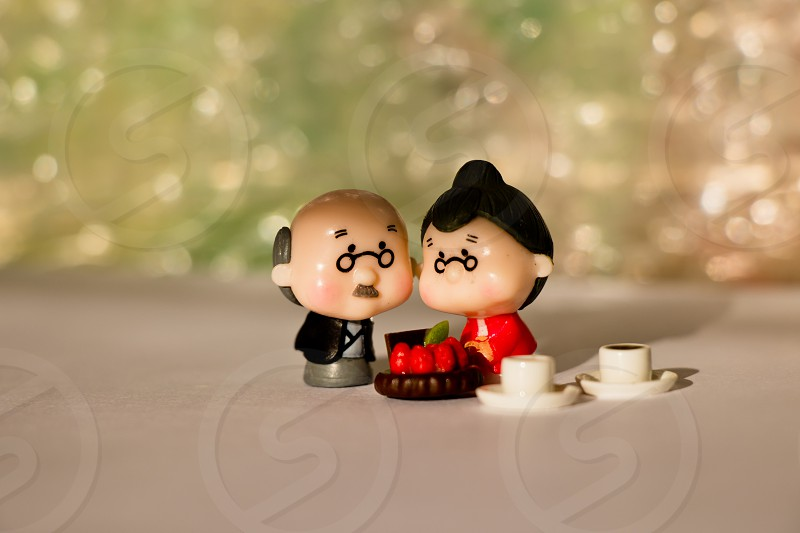 Old people love long time Old couple anniversary couple miniature toy figure life macro elder people darling sweet picnic lover photo