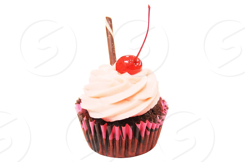 pink cupcake cherry cupcake yummy chocolate cake sweet tooth icing  photo