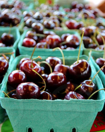 Black cherries in green cartons at a farmers market photo