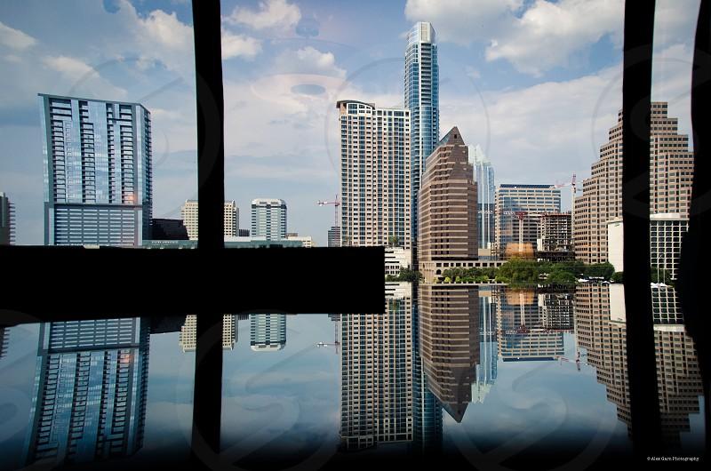 Reflecting on Austin.  Austin Texas City Skyline Reflections Beauty Unique photo