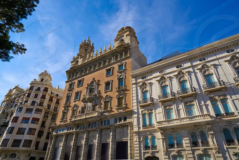 Valencia Tetuan square buildings facades at spain photo