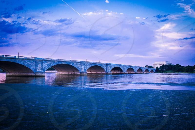 Memorial Bridge with purple light photo