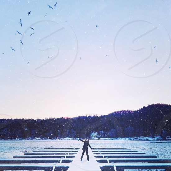 girl standing on dock near water with birds flying over head photo