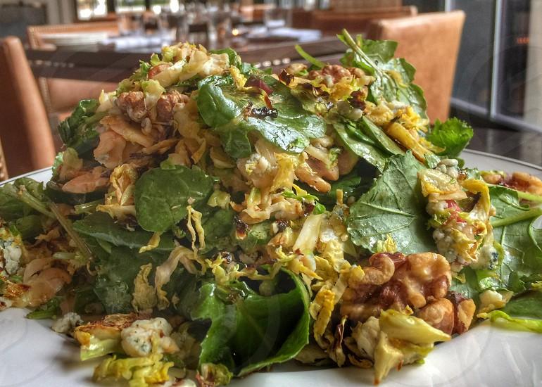 Cobb salad walnuts cranberries green food restaurant  photo