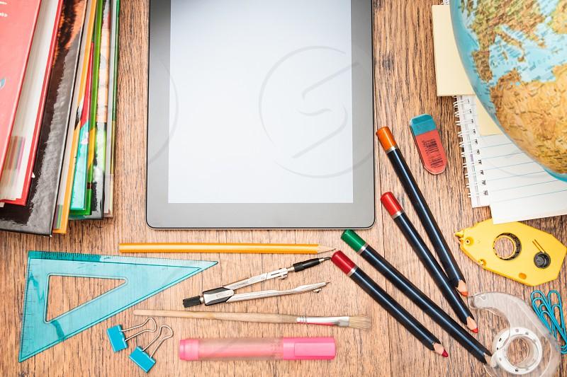 School accessories on a desktop photo