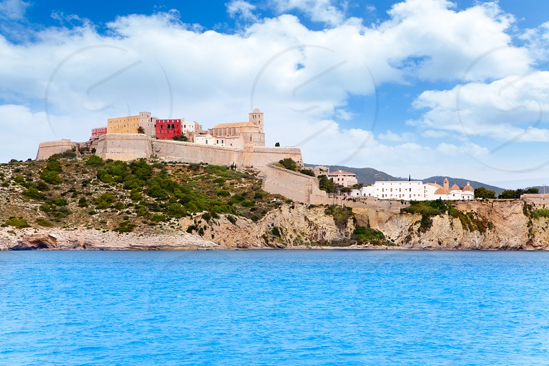 Eivissa ibiza town castle and church view from sea photo