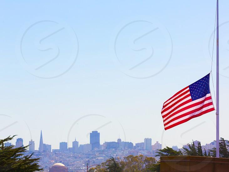 San francisco foggy with United States flag foreground California photo
