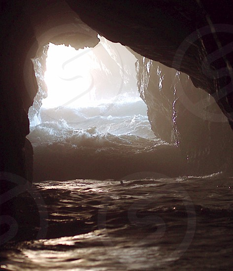 water-filled rocky caves photo