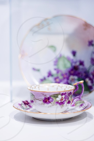 Tea cup hand painted paint art gallery display Gina tea cup purple green yellow plate floral flower bloom light gold regal delicate dainty food drink saucer sophistication cheers queen photo