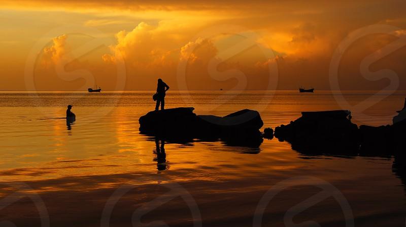 Pescadores en costa de Campeche. photo