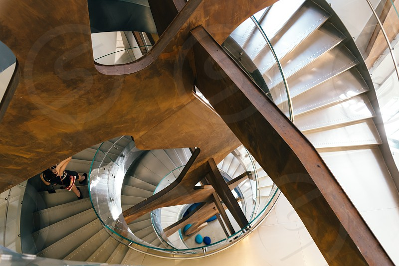 High angle view of modern architecture staircase photo
