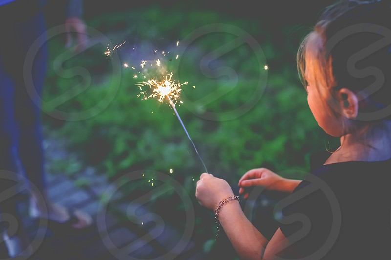 new year sparkler child light happy new year girl photo
