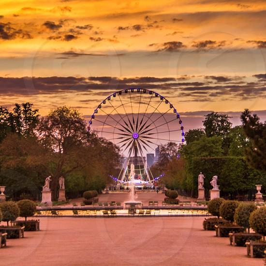 Paris France at sunset  photo