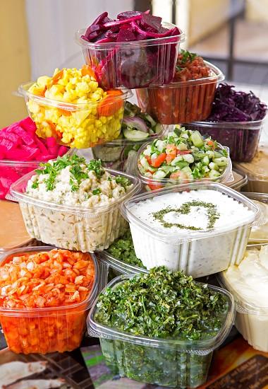 Variety of Salads and Hummus photo