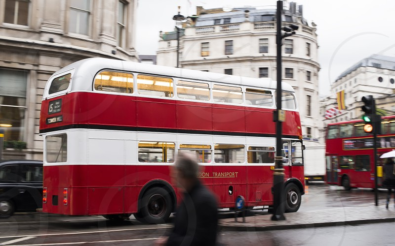 Red vintage bus in London. London City tour photo