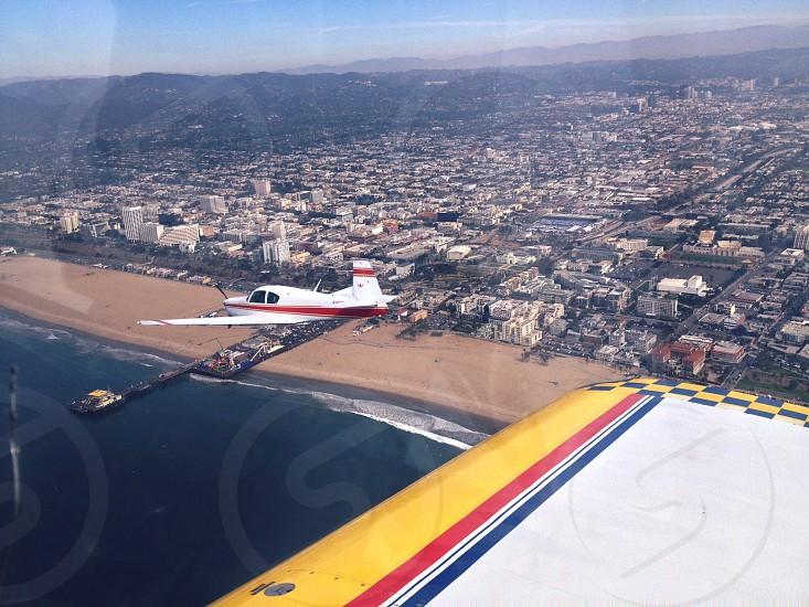 Flying above Santa Monica Pier photo