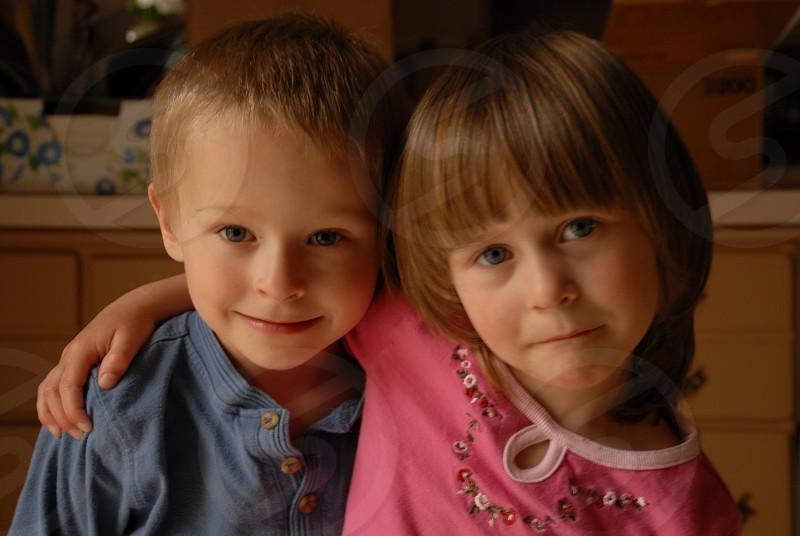 children brother & sister candid portrait autumn photo