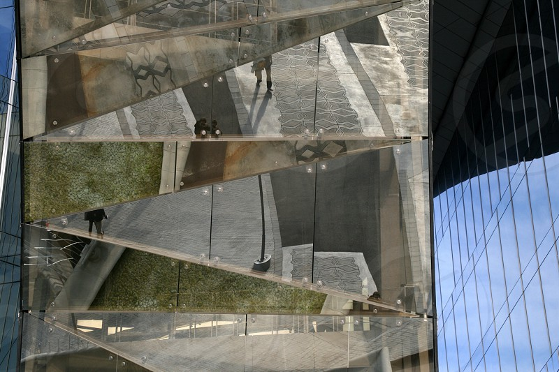 A Barcelona urban reflection on a contemporary building. photo
