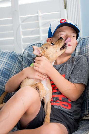 Playful dog licking boy's face photo