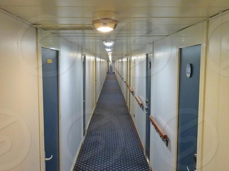 cruise internal view of cabin doors corridor photo