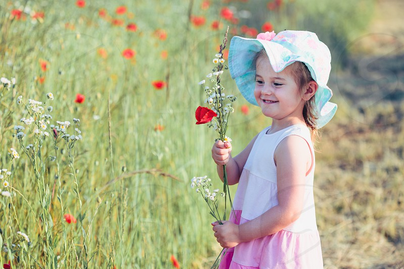 Lovely little girl in the field of wild flowers. Cute girl picking the spring flowers for her mom for Mother's Day in the meadow. Spending time close to nature photo