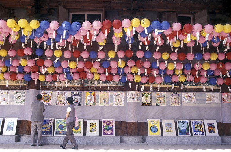 traditional lanterns at the Jogyesa temple in the city of Seoul in South Korea in EastAasia.  Southkorea Seoul May 2006 photo