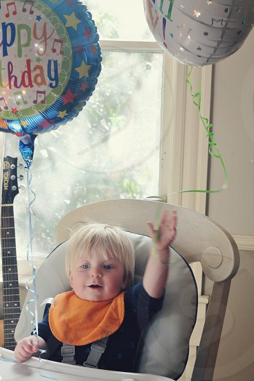 First birthday with balloons photo