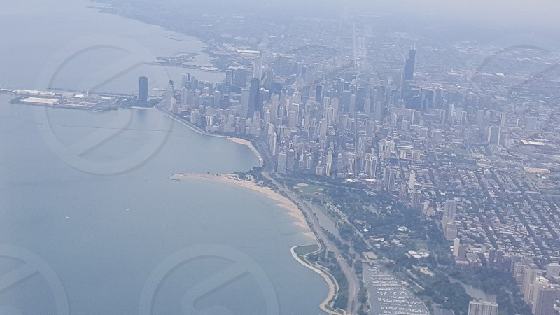 Chicago skyline from the sky photo