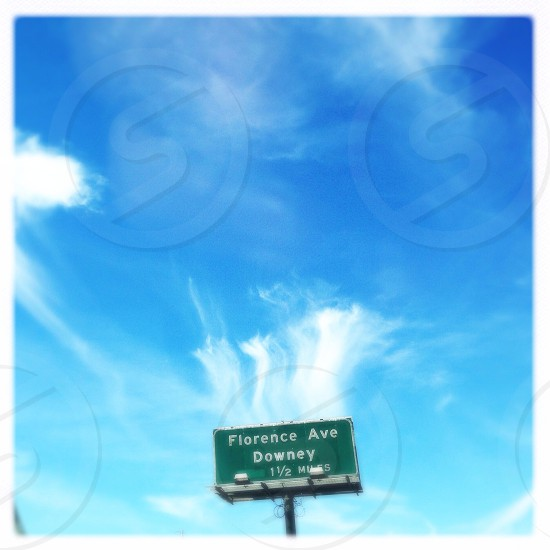 florence ave downey 1 1/2 miles sign photo