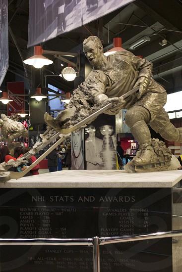 Gordie Howe statue at the Joe Louis Arena photo