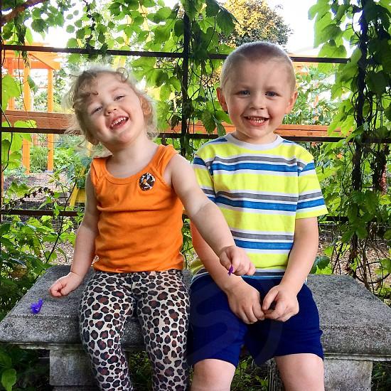 Bench kids  photo